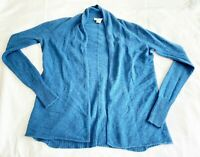 White+Warren Women Long Sleeve 100% Cashmere Open Front Cardigan Sweater Blue XS