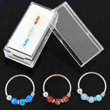 22 Gauge Dia 8 mm 9K Solid Yellow Gold Opal Stone 3 pieces Hoop Nose Ring in Box