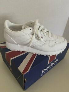 NIB Reebok Classic Leather Women's White Sneakers Shoes 7W Wide