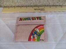 Vintage Smurf Smurfette Wallet pocket book pink rainbow Girl purse toy fun gift