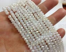 1000pcs wholesale White AB 4x6mm Rondelle Crystal Loose Beads Jewelry Making