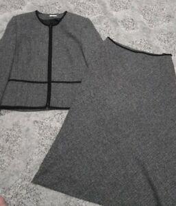 Ladies Klass Petite Grey Black Size 14 Peplum Jacket Midi Maxi Skirt Suit Smart