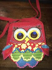 PETIT SAC BANDOULIERE TISSU ROUGE  HIBOU CHOUETTE FILLE NEUF