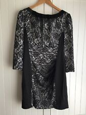 New With Tags Karen Millen Black Lace 3/4 Sleeve Dress Size 16 UK