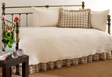 Daybed Bedding Sets Covers Comforters Quilted Coverlet Plaid Cotton Ivory 5PC