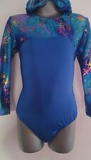 Girls 7-8 Blue/Blue Scribble long sleeved lycra leotard disco/gymnastics/dance