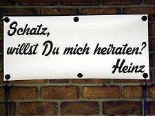 """Heiratsantrag/Wunsch-Text """"willst Du mich heiraten? Banner: 76cmx34cm (Mod.h015)"""