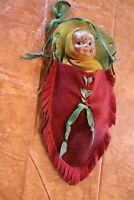 Antique 1910's Madame Hendren Composition Indian Doll w/ Original Felt Papoose
