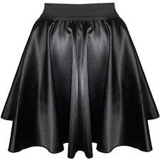 Black Satin Mini Skirt Women Girl Short Dress Pleated Retro Elastic Waist Shiny