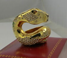 Spectacular Huge Curled Snake Sterling Silver Gold Vermeil White Sapphire Ring
