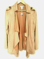Wet Seal Womens Size USA M Brown Waterfall Draped Cardigan Top Faux Suede Pocket