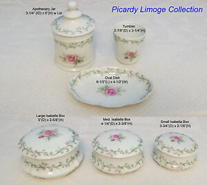 "French Limoge ""Picardy"" Tray Oval Apothecary Jar Trinket Box Jewelry Tumbler Cup"