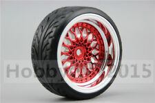 4pcs RC Hard 1/10 Pattern Drift Tires  Y12CR 6mm offset (Chrome+Painting Red)