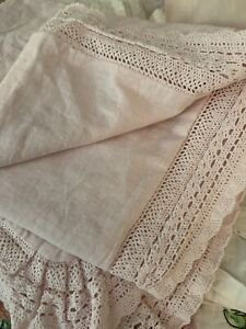 One Simply Shabby Chic Pink Crochet Trim Non-Quilted King Sham