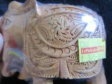 """Hand Carved Wood Elephant- Direct from India- Gorgeous Realistic Detail- 3"""" tall"""