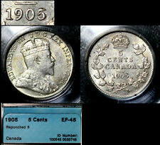 TOP COLLECTION: 5 Cents - 1905 Repunched 5/5 - EF45 (b781)