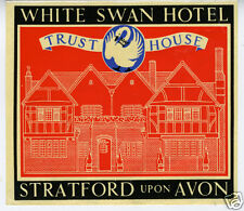 1940s Luggage Label White Swan Hotel Stratford Avon