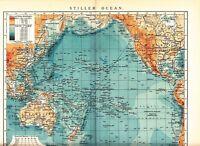 1899 PACIFIC OCEAN ISLANDS AMERICA ASIA AUSTRALIA Antique Map