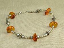"""VTG Ethnic Tribal Nickel Silver & Real Natural Amber Gemstone Link Bracelet 8"""""""