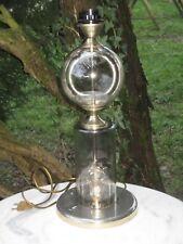 Lampe de salon verre soufflé fumé - chrome décore de fleurs Italie vers 60 /70