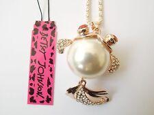 Betsey Johnson Rhinestone goldfish Pendant Necklace #F05