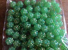 Resin Shamballa Style Disco Ball Beads x 100 12mm Dark Green
