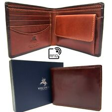 Mens Wallet Real Leather RFID Brown Tan New in Gift Box Visconti TR30