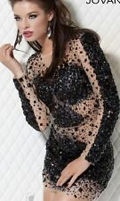 Jovani Black & Nude Long Sleeve Party Evening Dress, Size 6