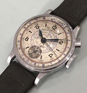 CORTÉBERT CHRONOGRAPH ONE PUSHER '30/40s Bicolor Sector Dial with Original Strap