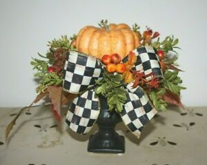 Cute Orange Pumpkin Potted in small Black Urn With Mackenzie Childs Bow!