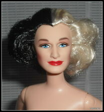 NUDE BARBIE (C) CELEBRITY GLENN CLOSE CRUELLA DEVIL BLACK/WHITE BLUE EYES DOLL