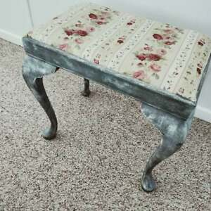 Grey and white Shabby Chic mahogany style stool with cabriole style legs
