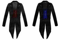 Men Steampunk Tailcoat Jacket Velvet 2 COLORS Vest Gothic Victorian Coat VTG