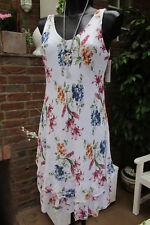 Knielang Kleid Trägerkleid Hippie Weiß Mehrfarbig Blumen Volant 36-40 Lagenlook