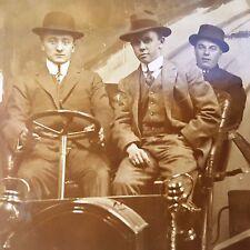 RPPC '20s 3 MEN in Model T OLD CAR Studio Posed Photo Postcard Unposted Vintage