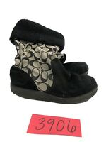 Coach Kally Womens Boots Signature C Black Suede Leather Boots Size 6.5 B