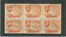 SEYCHELLES 1938 GEORGE 6TH 6c ORANGE BLOCK OF 6 SG,137 F/USED LOT 700B