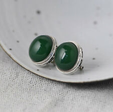 I05 Earring Sterling Silver 925 Oval Green Agate
