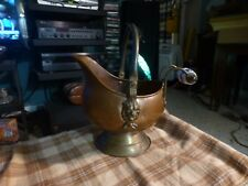 Vintage Dutch Copper Brass Lion Coal Skuttle W/ Porcelain Handle Holland VG !