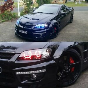 VE Commodore Projector Headlights S1 with Multicolored Halo Rings - App Control
