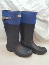 HUNTER Original Tall Back Adjustable Wellies RAIN Rubber BOOTS Blue UK3/US5/Eu35