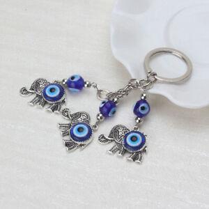 Blue Evil Eye Keyring Elephant Pendent Car Key Chain Car Accessories Charm s H