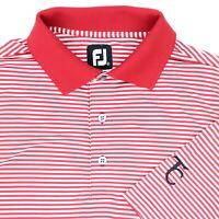 "FootJoy Men Large 45"" TC Golf Polo Shirt Red White Stripe Polyester Stretch"
