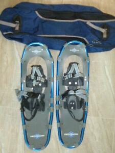"LL BEAN Winter Walker 26 Snowshoes Blue Gray Aluminum 26"" w/ Case Excellent UC"