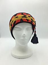Obermeyer Headband Beaded Pom Tassel Hand Knit in USA Wool No Itch Ski Vintage