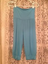 Handmade Blue Cropped Capris Genie Pants Cotton Blend Juniors Medium