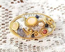 Vintage Designer Michal Golan Signed Mosaic Brooch Pendant Goldtone Rare HTF