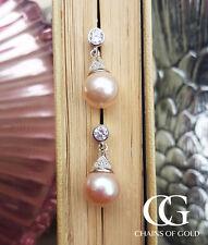 Vintage Bridal Sterling Silver Drop Earrings with Pink Freshwater Pearl