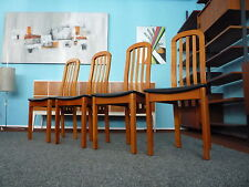 4 wunderschöne Dining Chairs-Stühle-Leder-SKOVBY Denmark-TOP-ZUSTAND