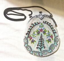 Antique Glass Beaded Purse - Floral and Geometric Design - Shoulder Chain